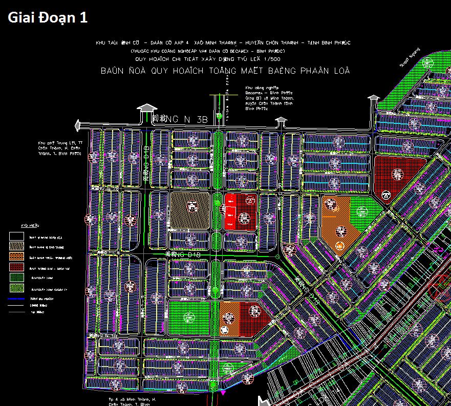 Bản đồ khu công nghiệp Becamex Bình Phước 3 giai đoạn