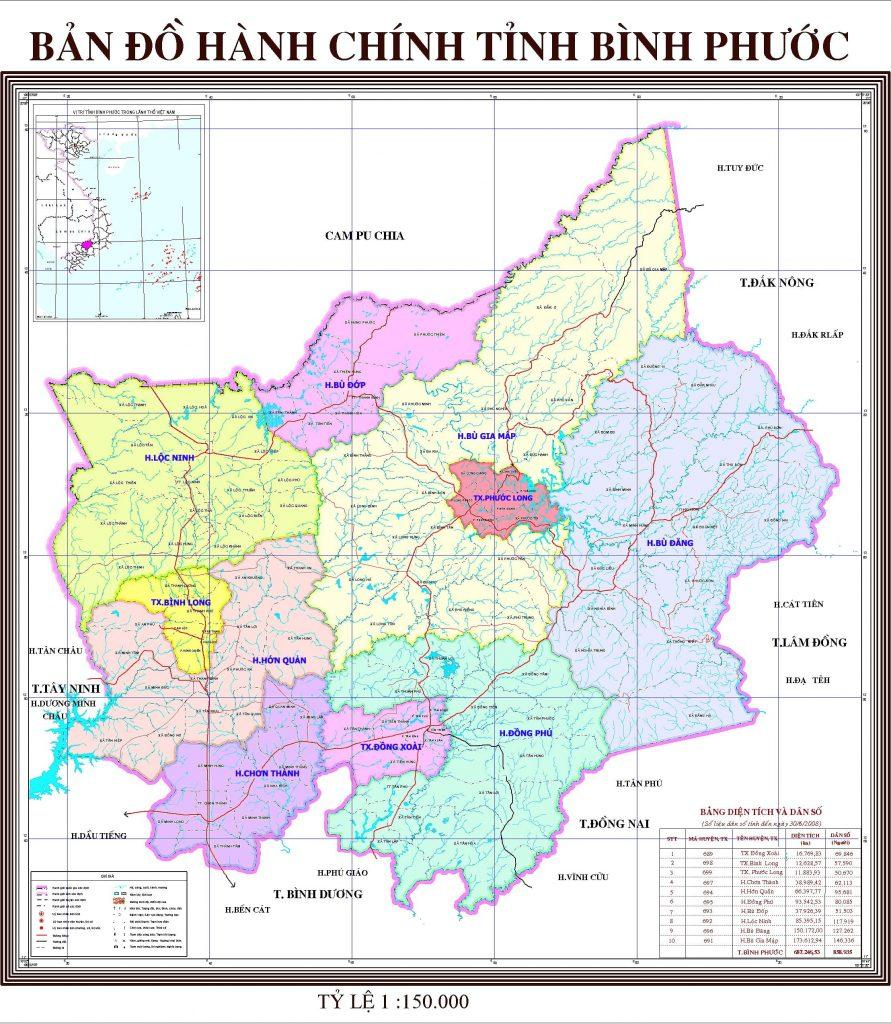 bản đồ tỉnh Bình Phước mới nhất